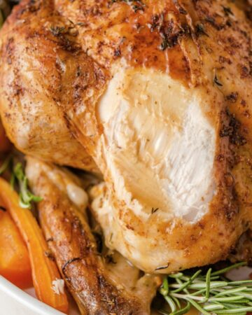 GARLIC HERB ROASTED CHICKEN - juicy moist chicken roasted in the oven #roastchicken #chicken #dinner #easy #healthy #meals #happilyunprocessed