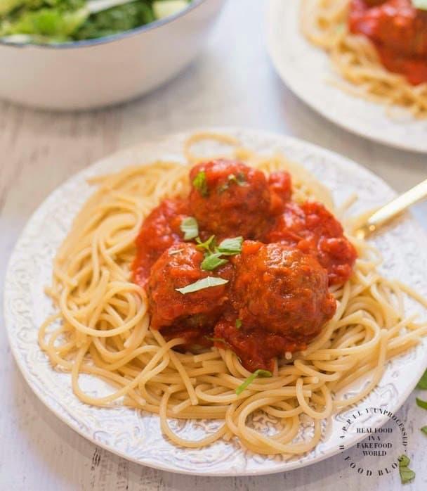 Homemade spaghetti sauce with meatballs