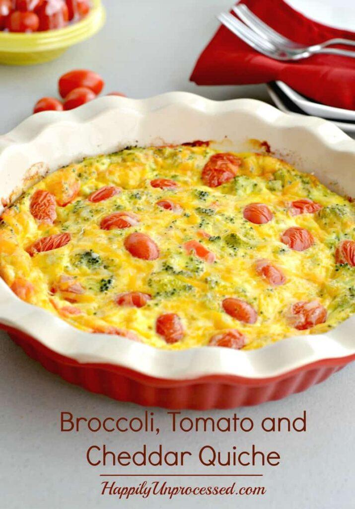 brocolli tomato and cheddar quiche