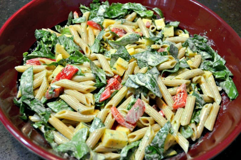 Pasta salad meets green salad in this Chicken Caesar Pasta Salad. A great summer BBQ side but hearty enough to serve for dinner on it's own.