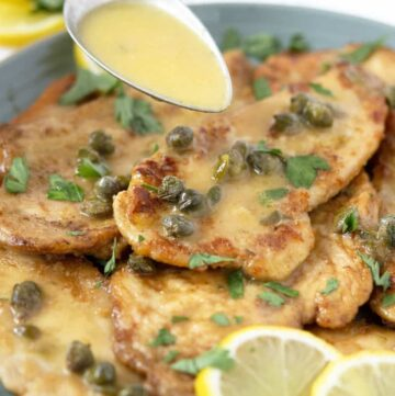 chicken piccata with capers and a lemon sauce