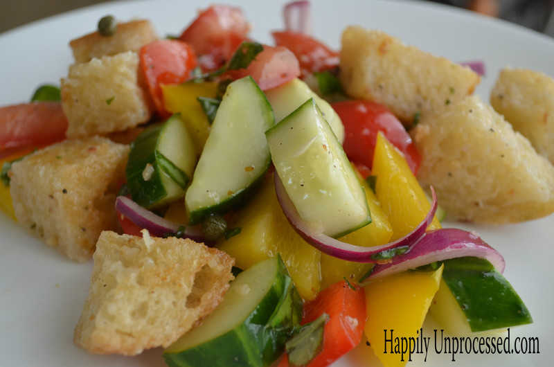 with bell peppers summer squash and tomatoes panzanella panzanella ...