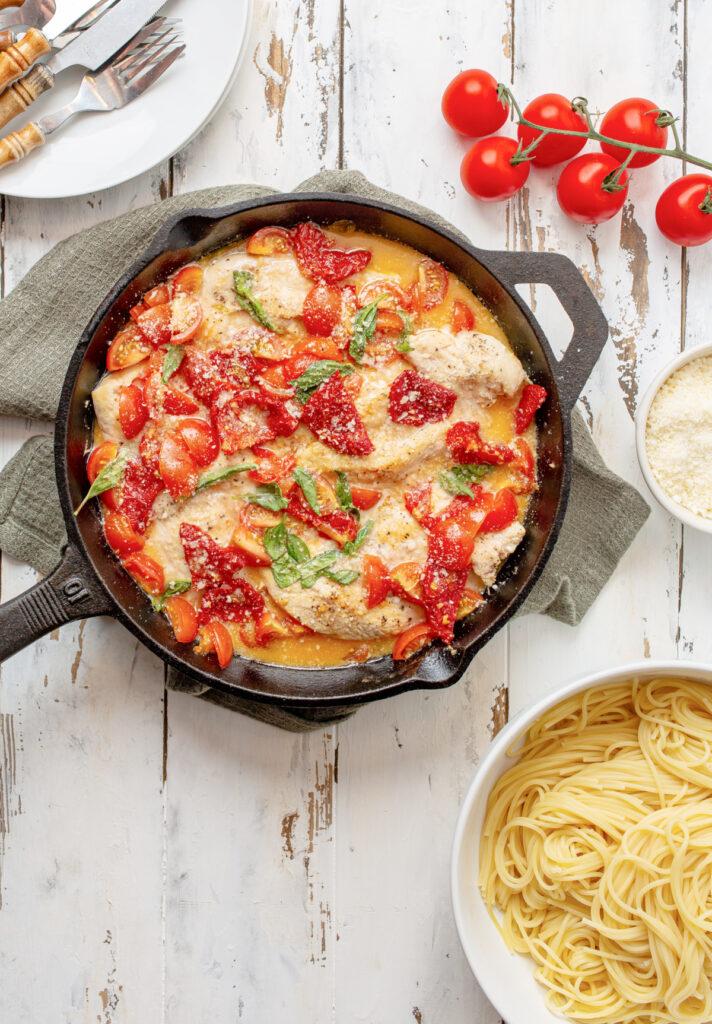 Tomato Basil chicken 712x1024 - Tomato & Basil Chicken in a Garlic Butter Sauce