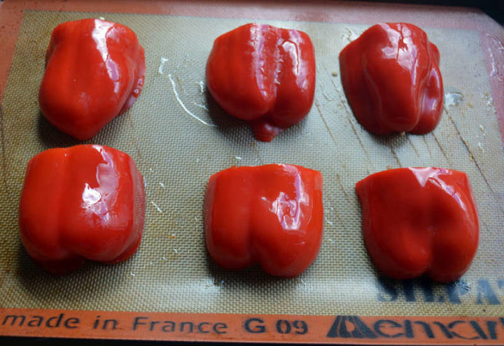 ROASTED RED PEPPERS UNDER BROIL WITH OLIVE OIL