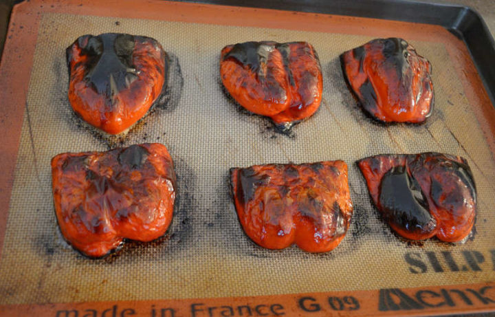 ROASTED RED PEPPERS CHARRED UNDER BROILER