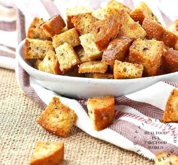 bowl of freshly made whole wheat croutons
