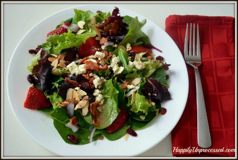 Spinach Salad with Apples, Feta and Bacon - Happily Unprocessed