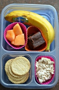 Friday ~ Gluten free crackers, tuna fish, cantelope, black bean brownie, banana