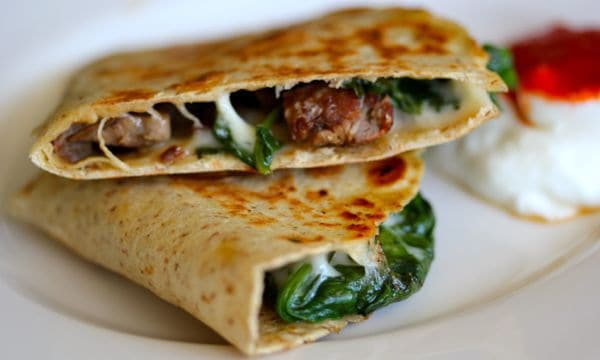 10 skillet Steak and Spinach Quesadilla - 10 Cast Iron Skillet Recipes