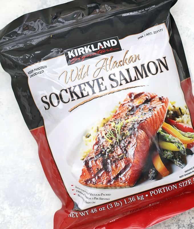 frozen bag of wild sockeye salmon from costco