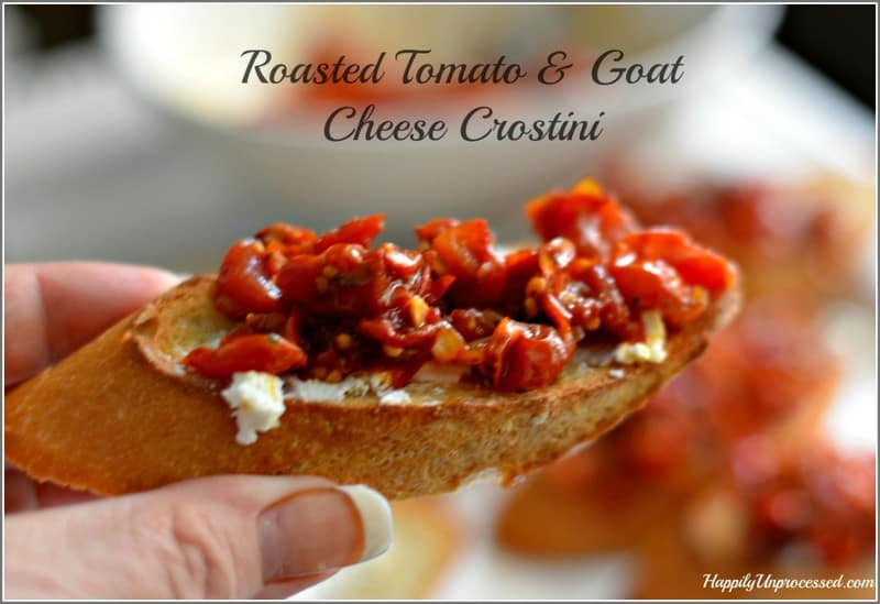 roasted tomatoes & goat cheese crostini