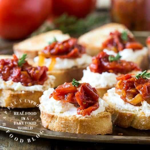 roasted tomato crostini - Roasted Tomato and Goat Cheese Crostini