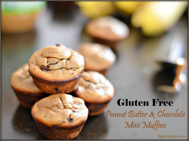 Flourless Peanut Butter & Chocolate Mini Muffins - Happily ...