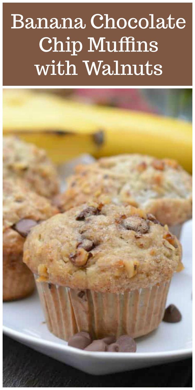 Banana Chocolate chip muffins pin.jpg - Banana Walnut Chocolate Chip Muffins