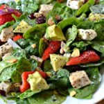 Spinach Salad with Strawberries, Avocado & Chicken with Orange Poppy Seed Dressing