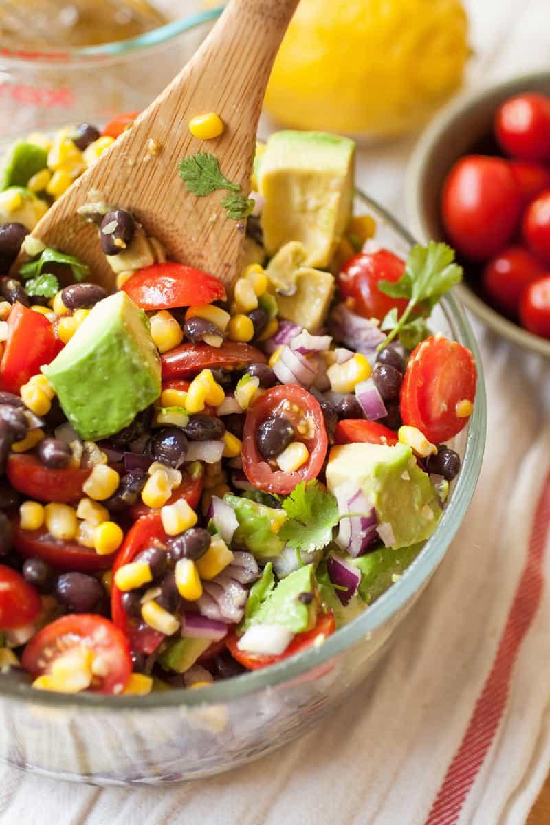 Summer Corn, Avocado & Black Bean Salad - Happily Unprocessed