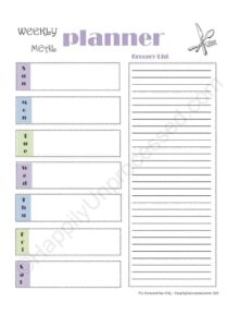 WEEKLY GROCERY SHOPPING LIST ~ PRINTABLE