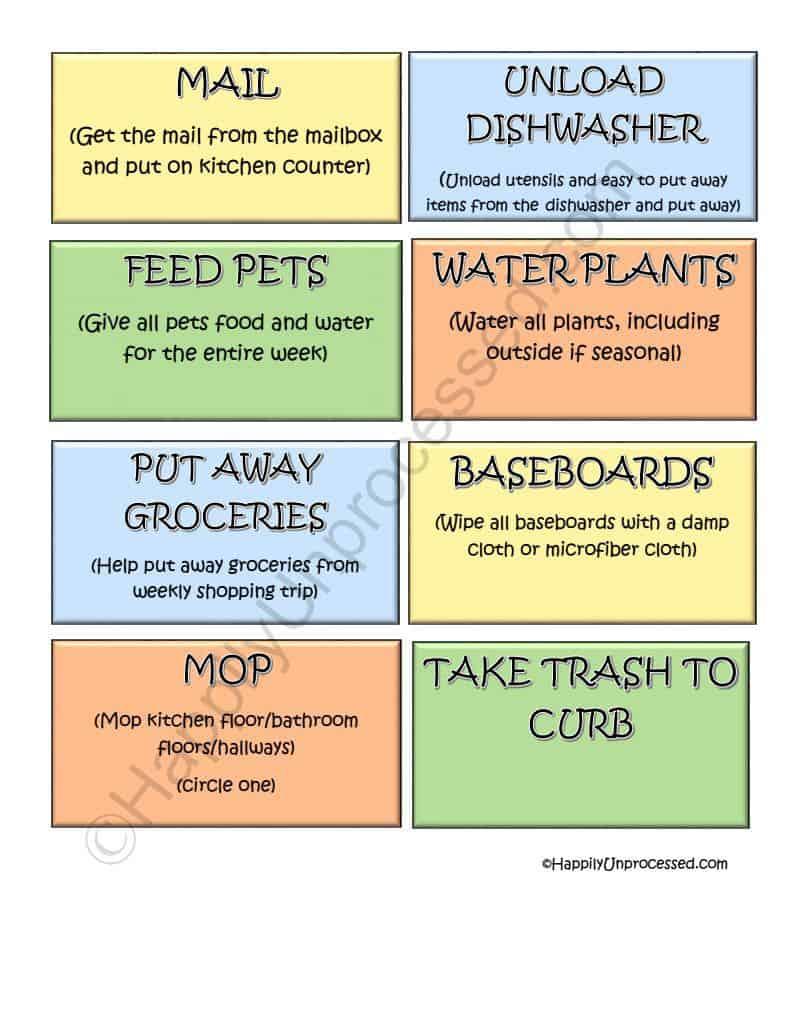 kids chore chart system