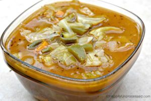 clear bowl of cabbage soup
