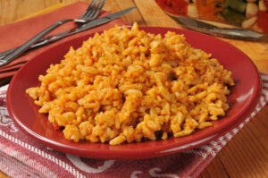 red dish with mexican rice