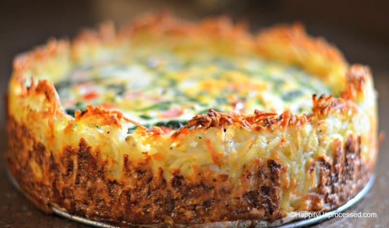 spinach gruyere cheese hashbrown quiche 1024x602 - Spinach and Gruyere Cheese Quiche with a Hash Brown Crust