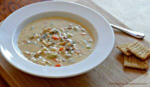 bowl of creamy chicken and wild rice soup