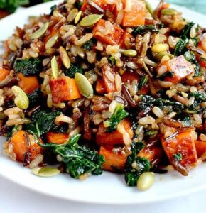 Wild Rice with Caramelized Sweet Potatoes, Shallots and Mushrooms