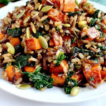 sweet potato1pic 360x361 - Wild Rice with Caramelized Sweet Potatoes, Shallots and Mushrooms