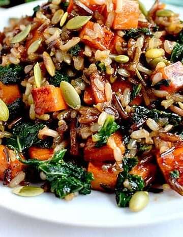 sweet potato1pic 360x465 - Wild Rice with Caramelized Sweet Potatoes, Shallots and Mushrooms