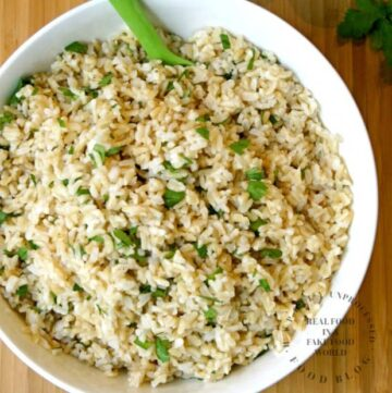 cilantro lime rice in a white bowl