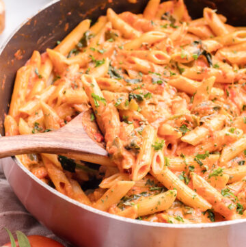 Penne Alla Vodka is a blush cream sauce that pairs perfectly with pasta #penneallavodka #vodkasauce