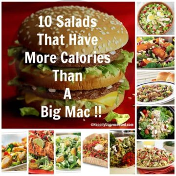 A big mac with words 10 salads that have more calories than a big mac