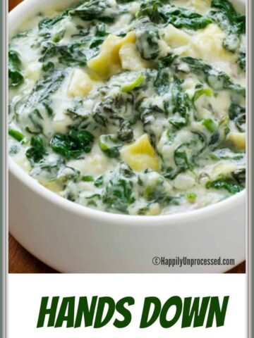 white bowl with spinach artichoke dip