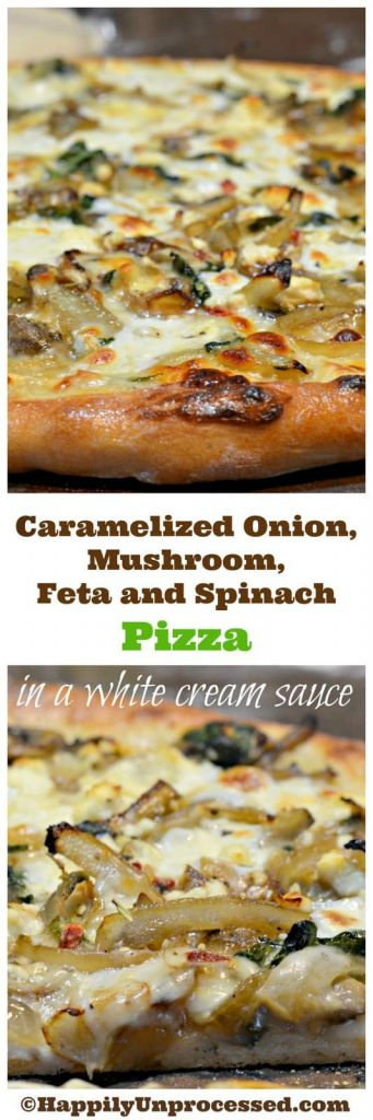 caramelized onion feta mushroom spinach pizza white saucecollage 341x1024 - Caramelized Onion, Mushroom, Feta and Spinach Pizza with White Sauce