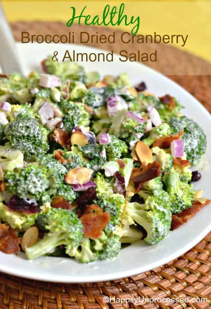 healthy broccoli, dried cranberries and almond salad