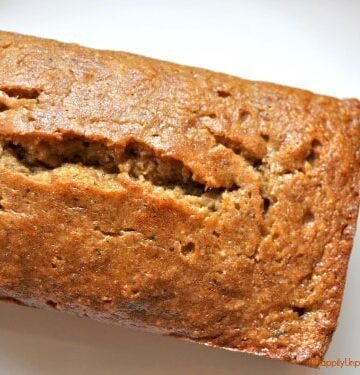 overhead shot of baked loaf of gluten free dairy free sugar free banana bread