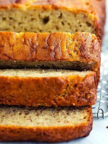 loaf of gluten free dairy free sugar free banana bread sliced