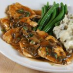 CHICKEN MARSALA - thinly sliced chicken breasts pan fried with mushrooms in a marsala sauce #chicken #marsala #weeknightdinner #cleaneating #happilyunprocessed