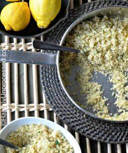 overhead shot of lemon quinoa