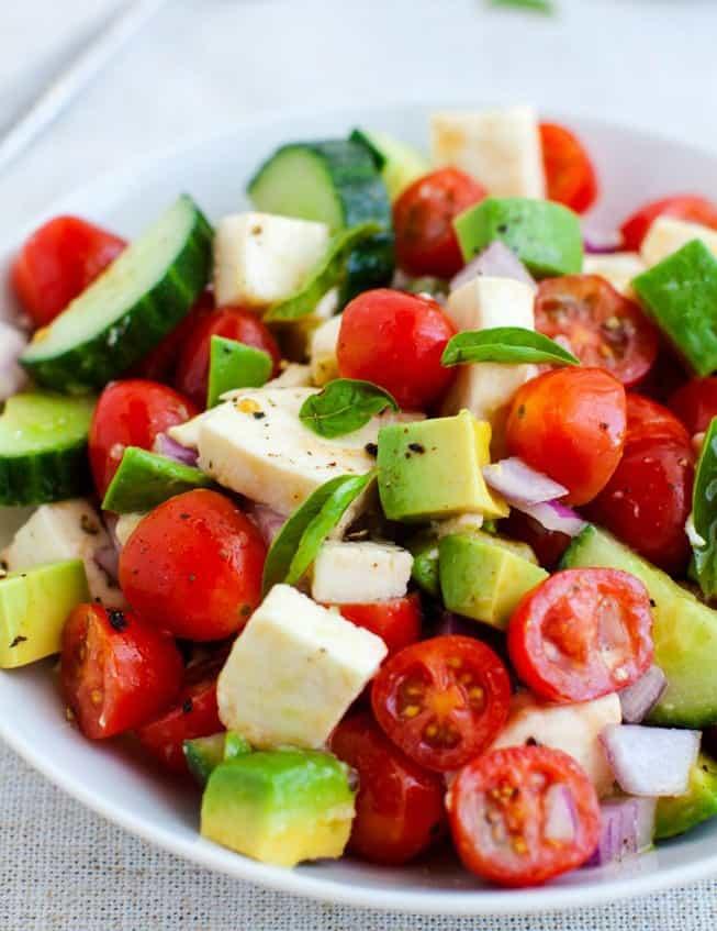 tomato cucumber mozzarella cheese avocado salad