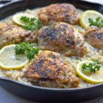 One Pot Lemon Pepper Chicken with Garlic Parmesan Risotto