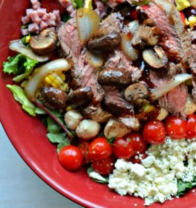 Caprese Steak Salad with Mozzarella, Tomatoes in a Reduced Balsamic Vinaigrette