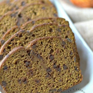 close up pumpkin bread with chocolate chips happily unprocessed