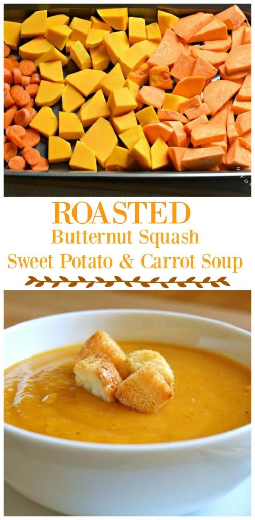 roasted butternut squash sweet potato carrot soup collage pinterest