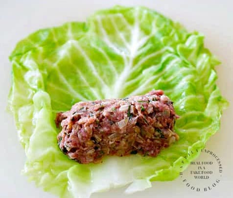 cabbage leaf stuffed with ground beef, pork and rice