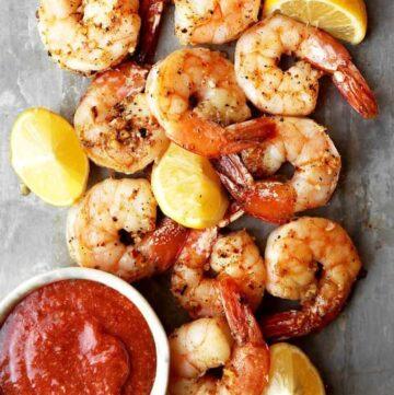 OVEN ROASTED SHRIMP COCKTAIL - roasting intensifies shrimps flavor #shrimp #seafood #appetizers #happilyunprocessed