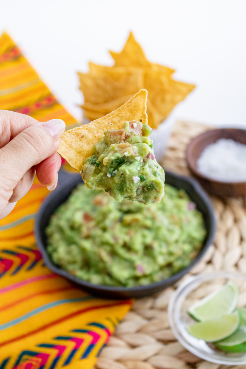 Homemade Guacamole on a chip - Wholly Guacamole (5 ingredients - 5 minutes)