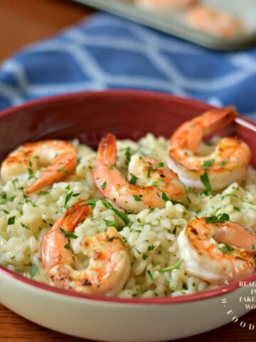 parmesan risotto with baked shrimp