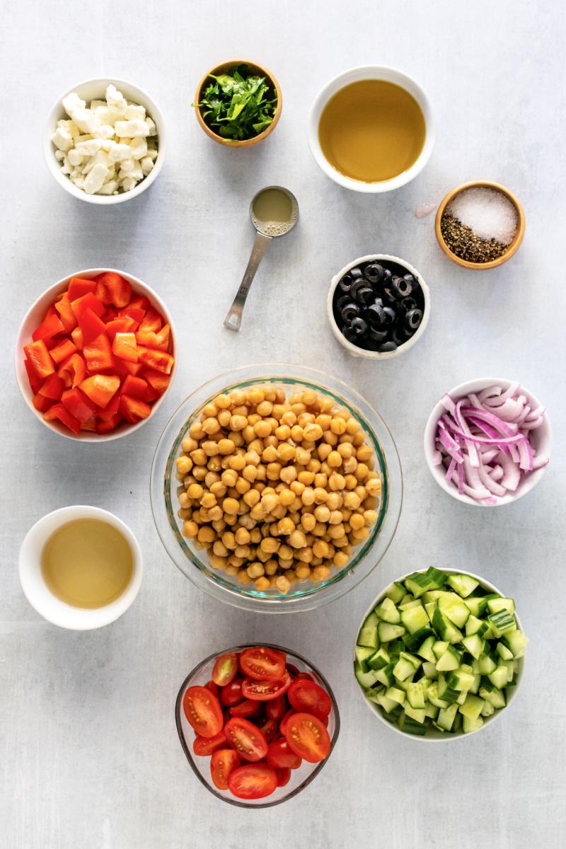 Mediterranean Chickpea and Feta Salad Ingredients - Mediterranean Chickpea & Feta Salad