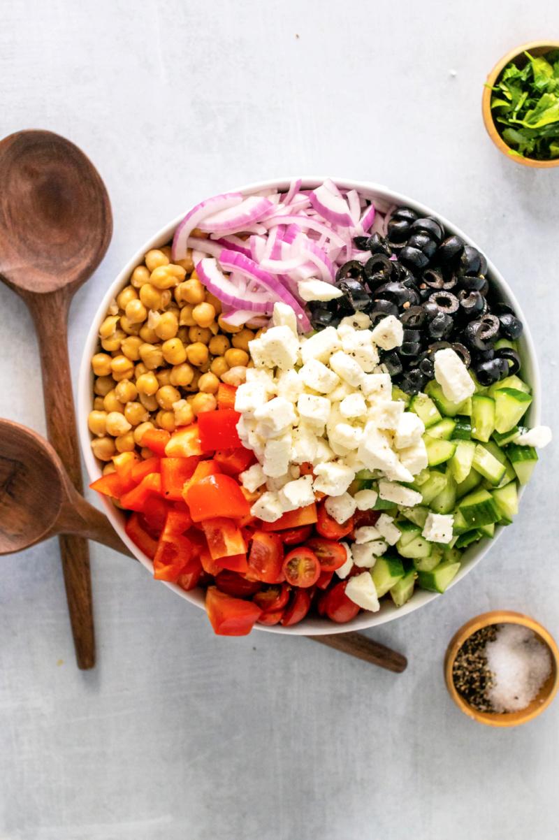 Mediterranean Chickpea and Feta Salad not combined in a bowl - Mediterranean Chickpea & Feta Salad
